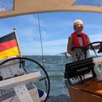 Hier sind wir auf der Fahrt durch den Greifswalder Bodden