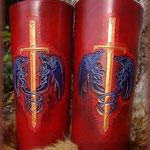 Canon en cuir Dragon et épée.