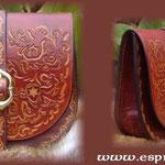 Aumônière en cuir réalisée par Christophe