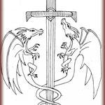 Croquis dragon et épée réalisé par le Client.