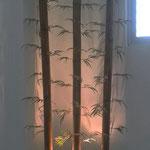 Jardinera madera con Bambues artificiales e Iluminacion