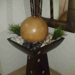 Fuente con Plato de Fibra con Base Barro y Esfera 1 Mt. Altura 50 Cm Ancho $ 1.650.00