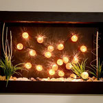 Cuadro Pared 80 X 60 Con Esferas Metálicas Naranja con Luz y Decorado $ 1250.00