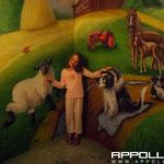 Autoairbrush gehört aufs Auto für die Kinder einen gemalten Bauernhof Hahn Kuh König Seepferdchen