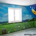 Illusionsmalerei im Hobbyraum durch Airbrush verschönert