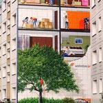 Stadtbild durch Fassadenkunst verschönert