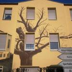 Fassadenbild in 3d Graffiti auf Fassade