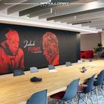 Raumdesign im Konferenzraum mit Wandbild durch Wandkunst in 3d Optik
