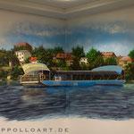 Landschaftsbild mit dem Blick auf dei Stadt Strausberg und der Fähre