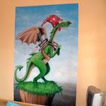 Kinderzimmergestaltung mit kleinen Drachen/ Graffiti Rennauto
