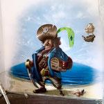 Graffitikünstler im Wanddesign Piraten gemalt Berlin