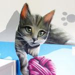 Graffitiauftrag Hamburg Wandbilder der Wandmalerei Tiermotiv Katzenbild
