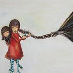 「蝶結び が ほどけない」アクリル/木製パネル 2014年