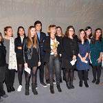 Martine Lavaud, Anabela Goncalves et Catherine Berthelard entourées du jury jeunes