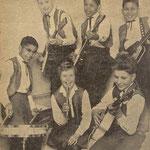 THE BRIGHT STARS 1962 - Met de broers Frank (solo), Roy (met zelfbouw V-bas van Boy Jansen) en Ferry van den Eeckhout (drums); later naar The Sky Devils. Henny Huisman (links boven), Chris Fronik (rechts onder) en Gré Sikkes (midden).
