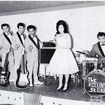 THE ROLLIN' STARS met zangeres MAJA LASSE (Magda 'Meity' Lapré) Tanzpalast LITO, Essen 1963. vlnr: Henry Alting Siberg, Paul Schüller, Charles Lapré, Fred Hooper, Magda Lapré en Wim Doornik