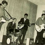 THE LUCKY STARS 1961 - vlnr: Ron Lamster, Hans Consten, Peter Plaisier, Hans Duk, Teddy Grey en Oely Ros (fotocollectie: Teddy Grey)