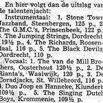 Op 25 mei 1963 vond een van de allergrootste talentenjachten van West-Brabant plaats in de veilinghal van Oudenbosch. The GMC's behaalden daar de 2e plaats, nadat de jury onder de indruk was geraakt van hun repertoire (een mix van rock-'n-roll en jazz) en