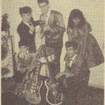 THE RAINBOW ROCKETS 1963 - achter vlnr: Oene Moedt, Tonny van de Bovenkamp en Dorien Deighton - voor vlnr: Henneke Deighton en Eddy Deighton.