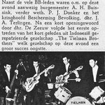 Uit de weekkrant De Bommelerwaard van 1 april 1958. Bericht van optreden in 't Nutsgebouw van Zaltbommel voor de BB (Bescherming Bevolking). De afstand ca. 7 KM van Hedel.