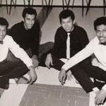 The Four Tielman Brothers in de Bovema studio, Heemstede (eind 1959)