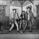THE REBEL ROCKERS - Circustheater Scheveningen, november 1959 vlnr: Jaap Berkhout - Rob Kraneveld - Reyn Rozenberg - Rudy Racz - Jacques Moningka