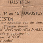 Jack Dens & The Swallows - Wijnfeesten Halsteren 12 t/m 15 augustus 1961