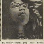Farida (Frieda) Pascoal tijdens teenagerfestival in Ons Gebouw te Kruiningen op 30 december 1962