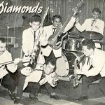 DIE DIAMONDS (THE BLACK DIAMONDS) vlnr: Theo v.d. Vondervoort - Loeky van Gessel - Jimmy Grünberg - David Nanuru - Leo Masengi - Dicky Siaila