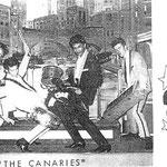 The Canaries - vlnr: Johnny Lobo - Sammy Poeteray - Ricky Huberts - Theo Boers - Willy van der Hurk