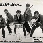 THE ROLLIN' STARS vlnr: Freddy Hooper, Paul Schüler, Wim Doornik, Henry Alting Siberg, Charles Lapré (collectie: Wim Doornik)