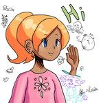 1時間左手で描いた女の子と左手落書き