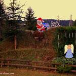 da sind sie nun, der Weihnachtsmann und das Christkind, aber ohne Schnee