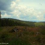 ....der erste Blick zum Windpark auf der Stanglalm und die Hohe Veitsch...
