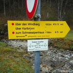 Start im Karlgraben, bei den Sieben Quellen....