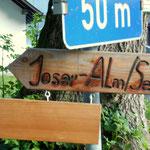 Wegweiser zur Joseralm