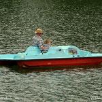 ...und als Finale, 2 mal mit dem Tretboot, Luis wollte gar nicht mehr runter, ein toller Kapitän und Steuermann, super.