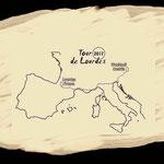 Der Streckenverlauf meiner Pilgerreise nach Lourdes