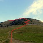 Aufstieg zum Hohen Waxenegg, Blick vom Taborsattel
