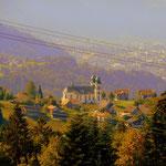 ....bis zum Gasthof Dreiländereck, von hier hat man einen schönen Blick auf die Wallfahrtskirche in Bildstein. Mein Weg führt mich über Wolfurt....