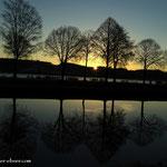 ....Sonnenaufgang, vorne die Feistritz und dahinter der Stubenbergsee.....