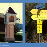 """Der Ausgangspunkt meiner heutigen Wanderung, die Pestsäule am Ortseingang, der Wegweiser mit der Markierung """"7"""" ist unser Anhaltspunkt."""