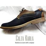 zapato azul y cafe de cuero para hombre