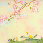 フリー素材・和風イラスト・貼り絵・桜・たんぽぽ