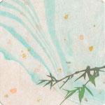 フリー素材・和風イラスト・貼り絵・青竹・水紋