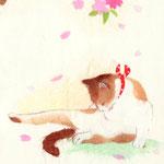 フリー素材・和風イラスト・貼り絵・猫