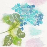 フリー素材・和風イラスト・貼り絵・あじさい・水色