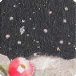 フリー素材・和風イラスト・貼り絵・雪と椿
