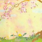 フリー素材・和風イラスト・貼り絵・たんぽぽ・桜