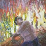 """Per l'exposició """" Les nostres arrels"""" Aquest el va pintar primer, però ho va descartr en no agradar-li el resultat"""
